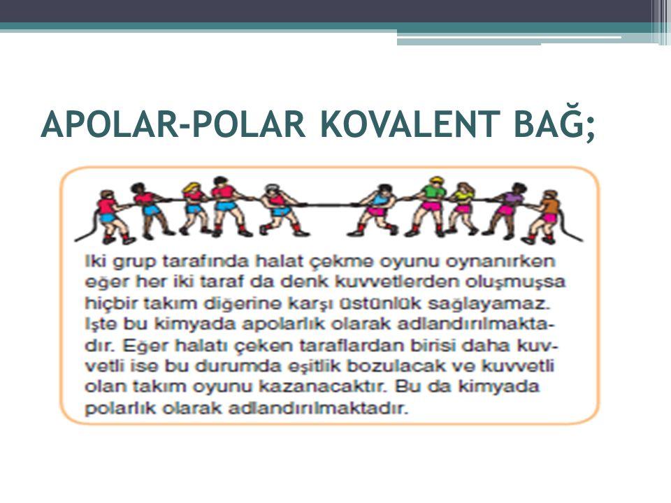 A-APOLAR KOVALENT BAĞ;  Aynı ametaller arasında gerçekleşen kovalent bağa APOLAR KOVALENT BAĞ denir.