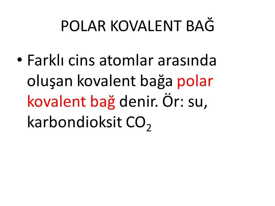 POLAR KOVALENT BAĞ Farklı cins atomlar arasında oluşan kovalent bağa polar kovalent bağ denir. Ör: su, karbondioksit CO 2