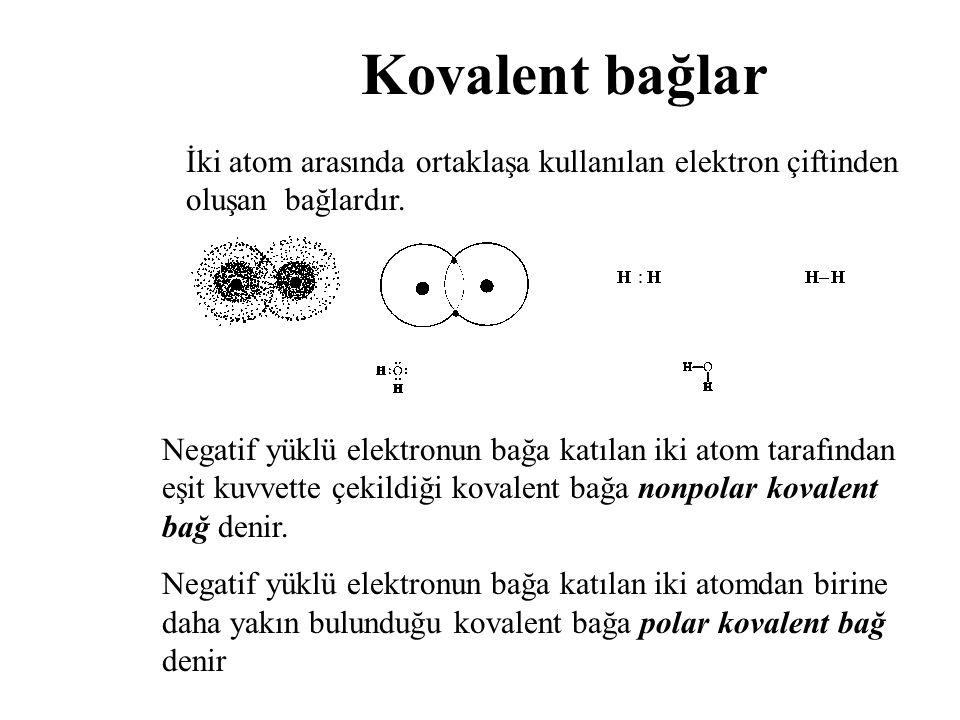 Kovalent bağlar İki atom arasında ortaklaşa kullanılan elektron çiftinden oluşan bağlardır. Negatif yüklü elektronun bağa katılan iki atom tarafından