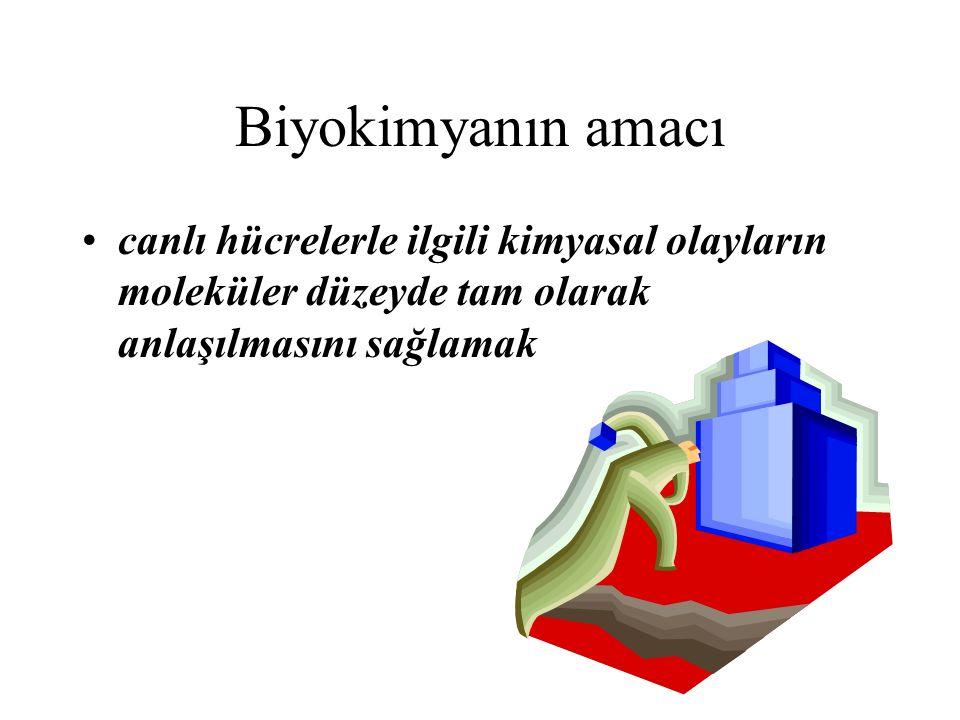 Biyokimyanın amacı canlı hücrelerle ilgili kimyasal olayların moleküler düzeyde tam olarak anlaşılmasını sağlamak