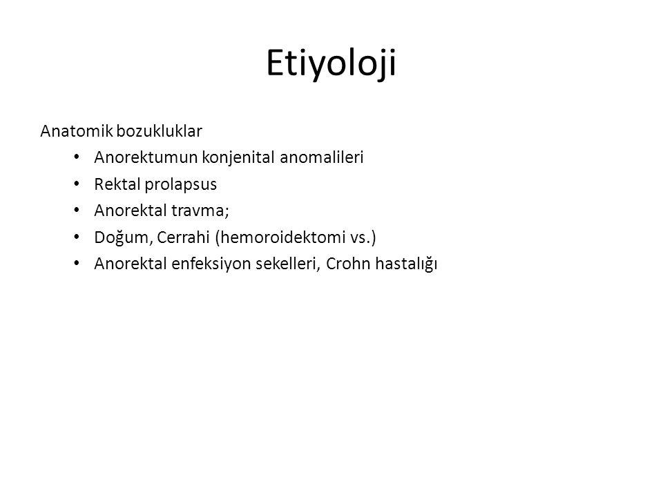 Etiyoloji Anatomik bozukluklar Anorektumun konjenital anomalileri Rektal prolapsus Anorektal travma; Doğum, Cerrahi (hemoroidektomi vs.) Anorektal enfeksiyon sekelleri, Crohn hastalığı