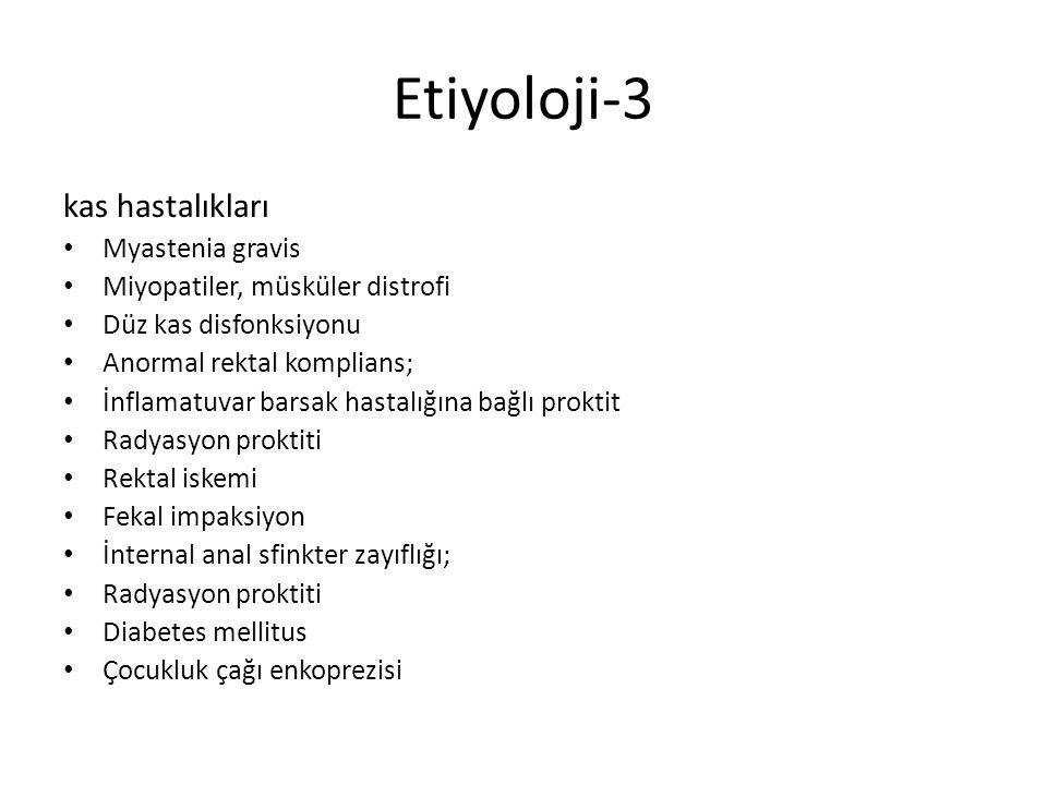 Etiyoloji-3 kas hastalıkları Myastenia gravis Miyopatiler, müsküler distrofi Düz kas disfonksiyonu Anormal rektal komplians; İnflamatuvar barsak hasta