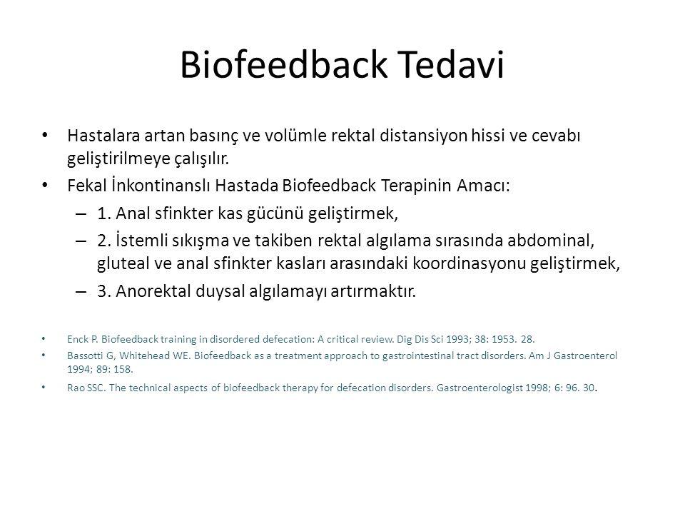 Biofeedback Tedavi Hastalara artan basınç ve volümle rektal distansiyon hissi ve cevabı geliştirilmeye çalışılır. Fekal İnkontinanslı Hastada Biofeedb