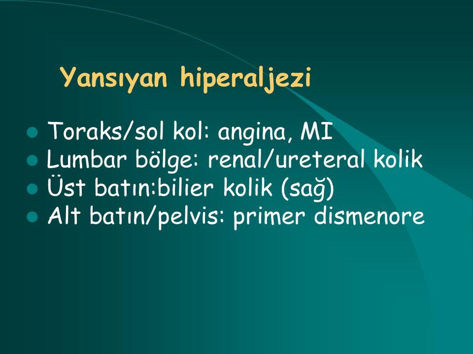 Yansıyan hiperaljezi Toraks/sol kol: angina, MI Lumbar bölge: renal/ureteral kolik Üst batın:bilier kolik (sağ) Alt batın/pelvis: primer dismenore