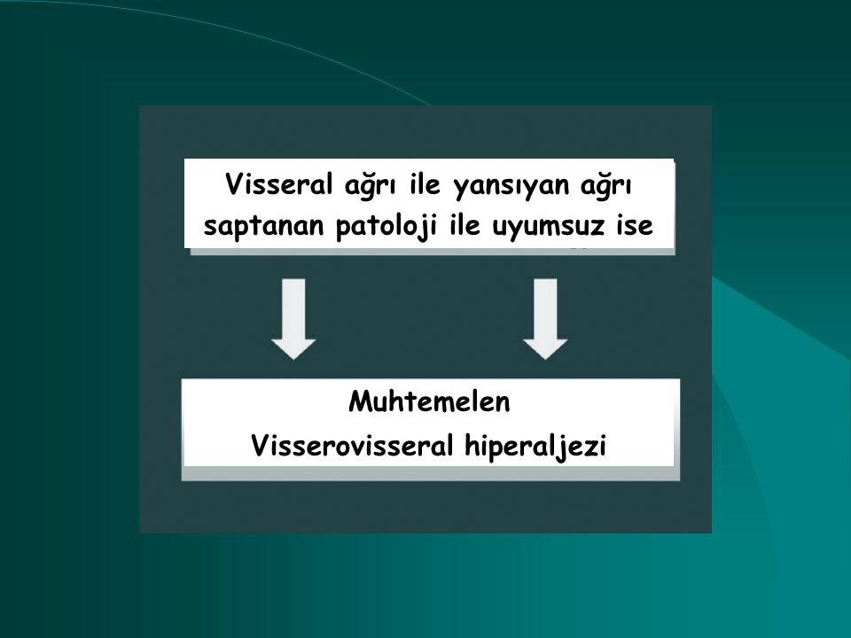 Visseral ağrı ile yansıyan ağrı saptanan patoloji ile uyumsuz ise Muhtemelen Visserovisseral hiperaljezi