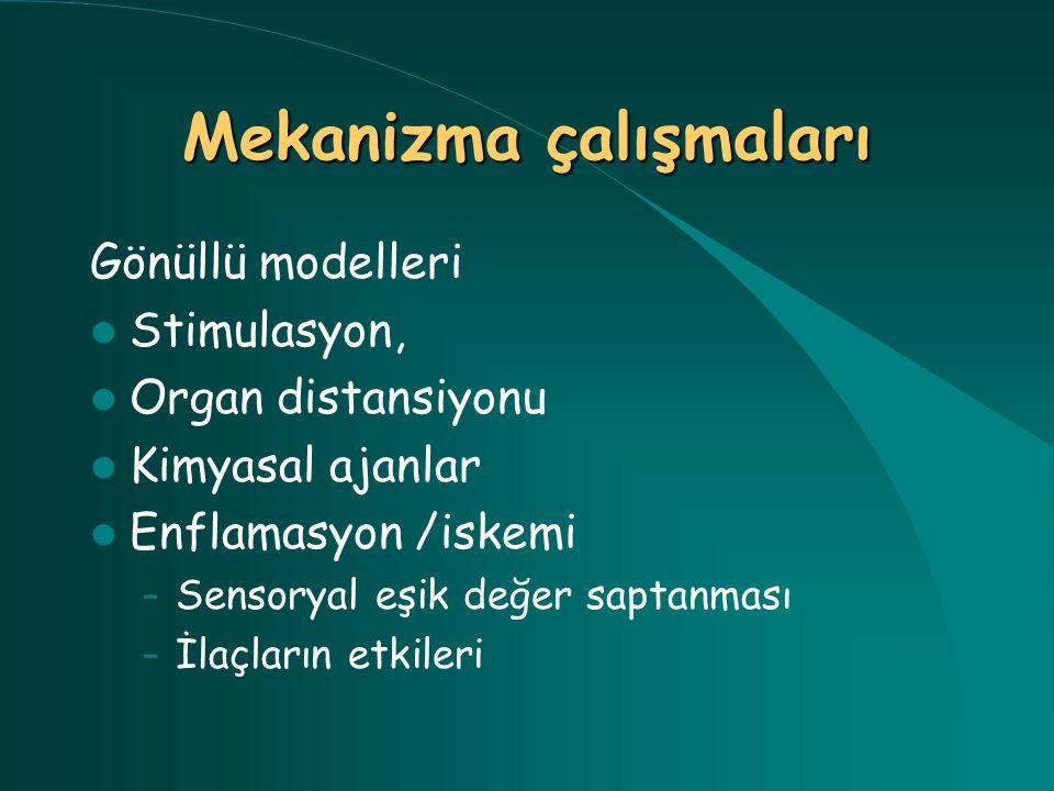 Gönüllü modelleri Stimulasyon, Organ distansiyonu Kimyasal ajanlar Enflamasyon /iskemi – Sensoryal eşik değer saptanması – İlaçların etkileri
