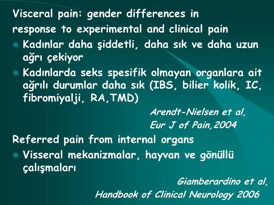 Visceral pain: gender differences in response to experimental and clinical pain Kadınlar daha şiddetli, daha sık ve daha uzun ağrı çekiyor Kadınlarda