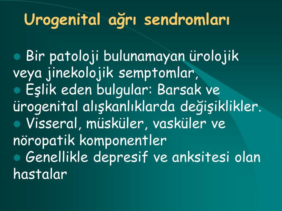 Bir patoloji bulunamayan ürolojik veya jinekolojik semptomlar, Eşlik eden bulgular: Barsak ve ürogenital alışkanlıklarda değişiklikler. Visseral, müsk