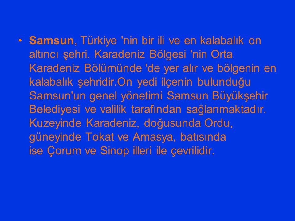 Samsun, Türkiye 'nin bir ili ve en kalabalık on altıncı şehri. Karadeniz Bölgesi 'nin Orta Karadeniz Bölümünde 'de yer alır ve bölgenin en kalabalık ş