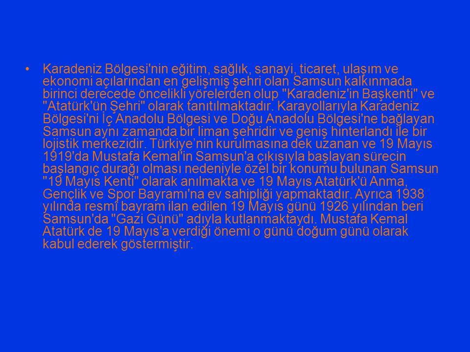 Karadeniz Bölgesi'nin eğitim, sağlık, sanayi, ticaret, ulaşım ve ekonomi açılarından en gelişmiş şehri olan Samsun kalkınmada birinci derecede öncelik