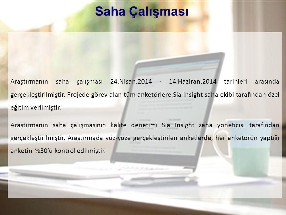 4 Saha Çalışması Araştırmanın saha çalışması 24.Nisan.2014 - 14.Haziran.2014 tarihleri arasında gerçekleştirilmiştir. Projede görev alan tüm anketörle