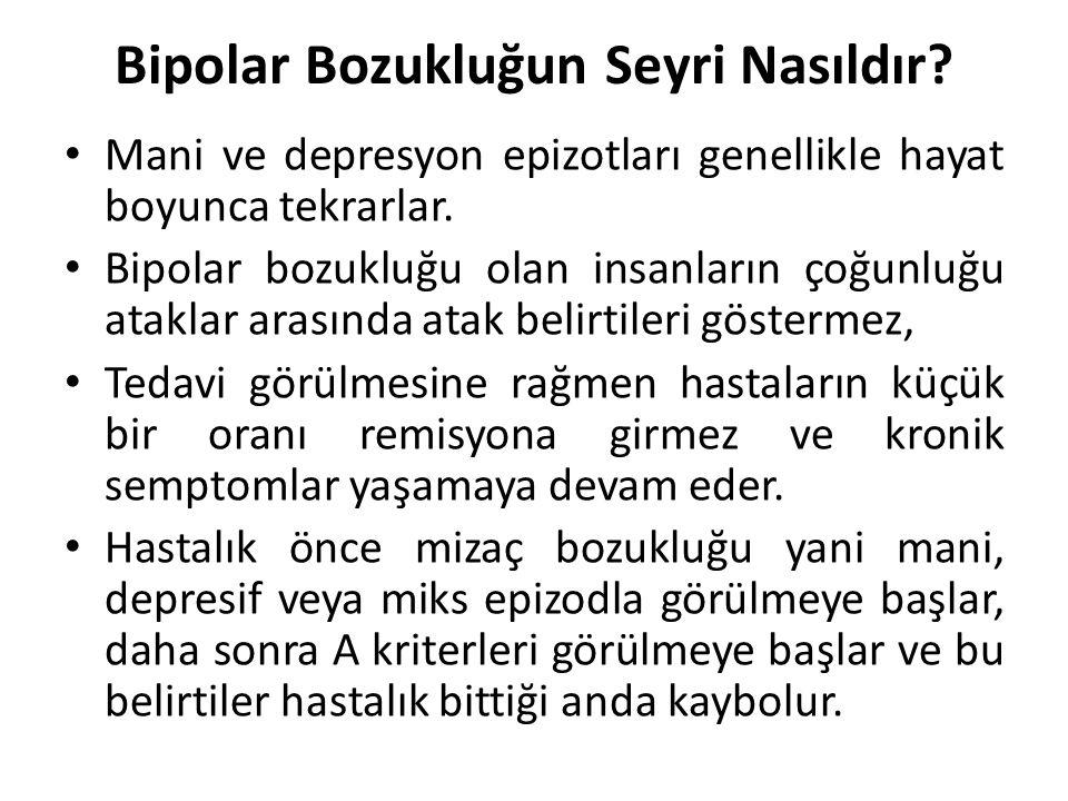 Bipolar Bozukluğun Seyri Nasıldır? Mani ve depresyon epizotları genellikle hayat boyunca tekrarlar. Bipolar bozukluğu olan insanların çoğunluğu atakla