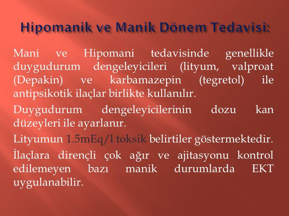 Mani ve Hipomani tedavisinde genellikle duygudurum dengeleyicileri (lityum, valproat (Depakin) ve karbamazepin (tegretol) ile antipsikotik ilaçlar bir