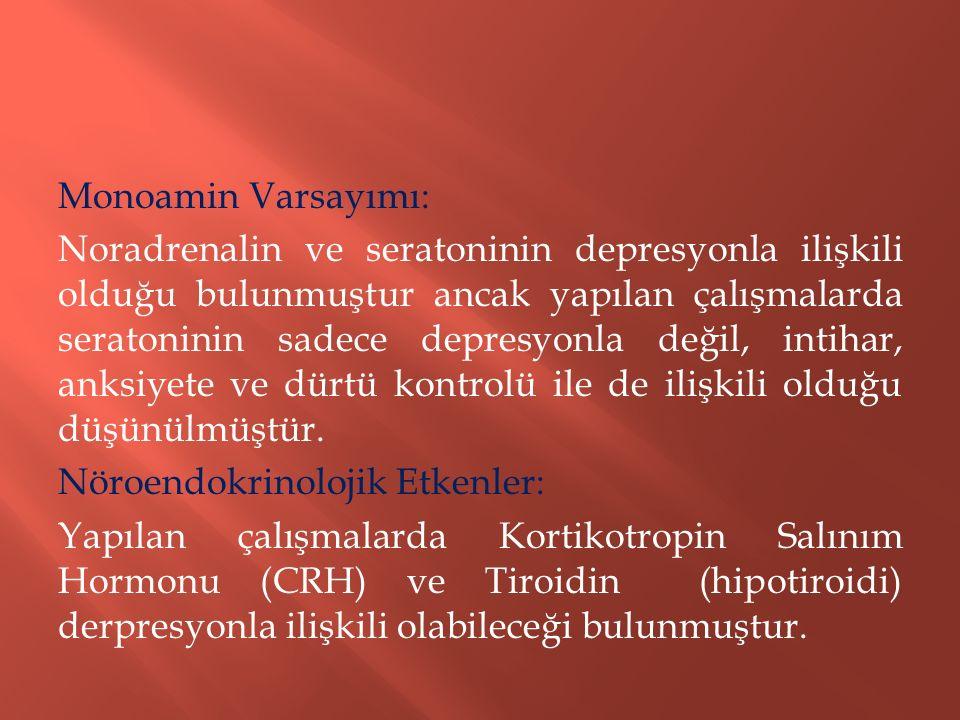 Monoamin Varsayımı: Noradrenalin ve seratoninin depresyonla ilişkili olduğu bulunmuştur ancak yapılan çalışmalarda seratoninin sadece depresyonla deği