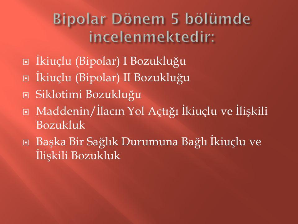  İkiuçlu (Bipolar) I Bozukluğu  İkiuçlu (Bipolar) II Bozukluğu  Siklotimi Bozukluğu  Maddenin/İlacın Yol Açtığı İkiuçlu ve İlişkili Bozukluk  Baş