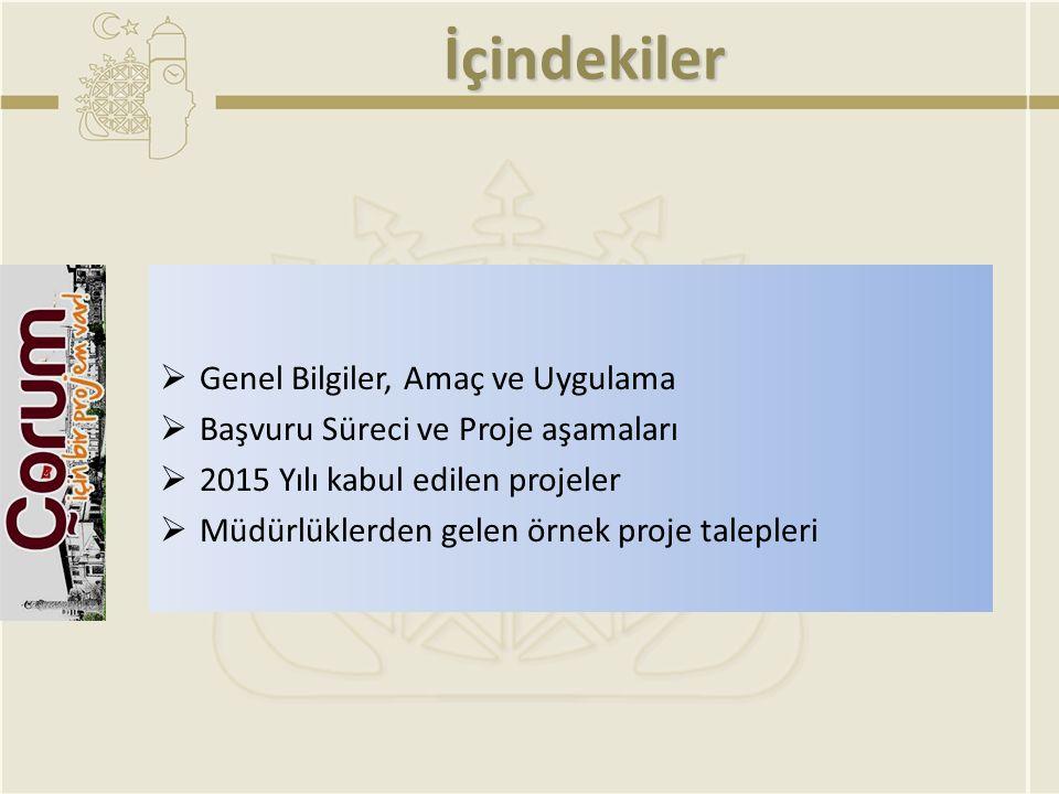 İçindekiler  Genel Bilgiler, Amaç ve Uygulama  Başvuru Süreci ve Proje aşamaları  2015 Yılı kabul edilen projeler  Müdürlüklerden gelen örnek proj