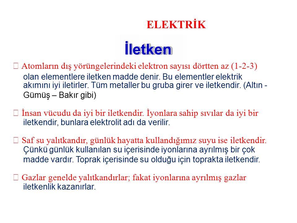 ELEKTRİK İletken  Atomların dış yörüngelerindeki elektron sayısı dörtten az (1-2-3) olan elementlere iletken madde denir. Bu elementler elektrik akım