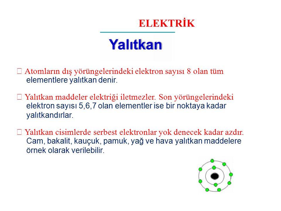 ELEKTRİK Yalıtkan  Atomların dış yörüngelerindeki elektron sayısı 8 olan tüm elementlere yalıtkan denir.  Yalıtkan maddeler elektriği iletmezler. So