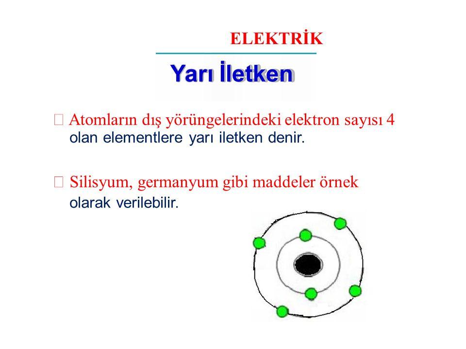 ELEKTRİK Yarı İletken  Atomların dış yörüngelerindeki elektron sayısı 4 olan elementlere yarı iletken denir.  Silisyum, germanyum gibi maddeler örne