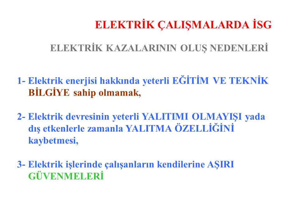 ELEKTRİK ÇALIŞMALARDA İSG ELEKTRİK KAZALARININ OLUŞ NEDENLERİ 1- Elektrik enerjisi hakkında yeterli EĞİTİM VE TEKNİK BİLGİYE sahip olmamak, 2- Elektri