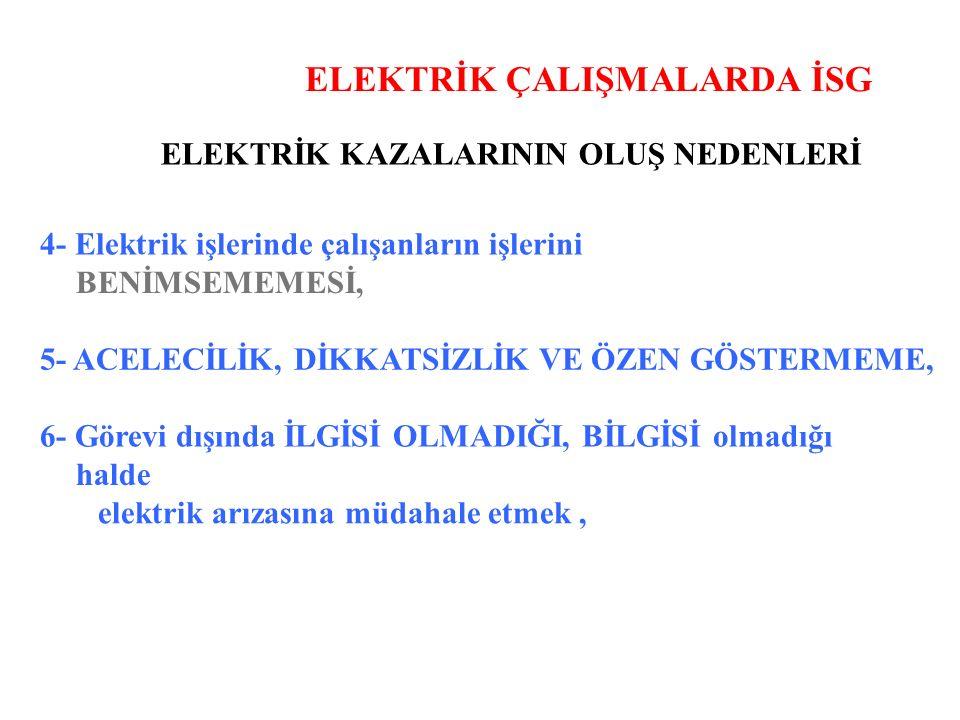 ELEKTRİK ÇALIŞMALARDA İSG ELEKTRİK KAZALARININ OLUŞ NEDENLERİ 4- Elektrik işlerinde çalışanların işlerini BENİMSEMEMESİ, 5- ACELECİLİK, DİKKATSİZLİK VE ÖZEN GÖSTERMEME, 6- Görevi dışında İLGİSİ OLMADIĞI, BİLGİSİ olmadığı halde elektrik arızasına müdahale etmek,