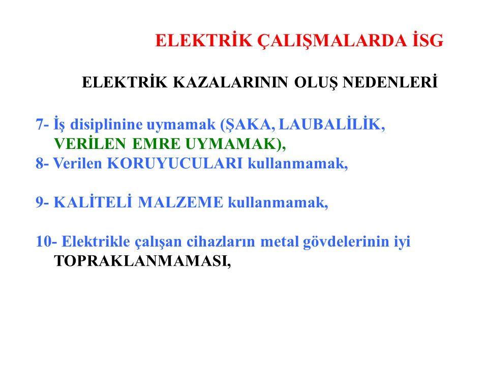 ELEKTRİK ÇALIŞMALARDA İSG ELEKTRİK KAZALARININ OLUŞ NEDENLERİ 7- İş disiplinine uymamak (ŞAKA, LAUBALİLİK, VERİLEN EMRE UYMAMAK), 8- Verilen KORUYUCULARI kullanmamak, 9- KALİTELİ MALZEME kullanmamak, 10- Elektrikle çalışan cihazların metal gövdelerinin iyi TOPRAKLANMAMASI,