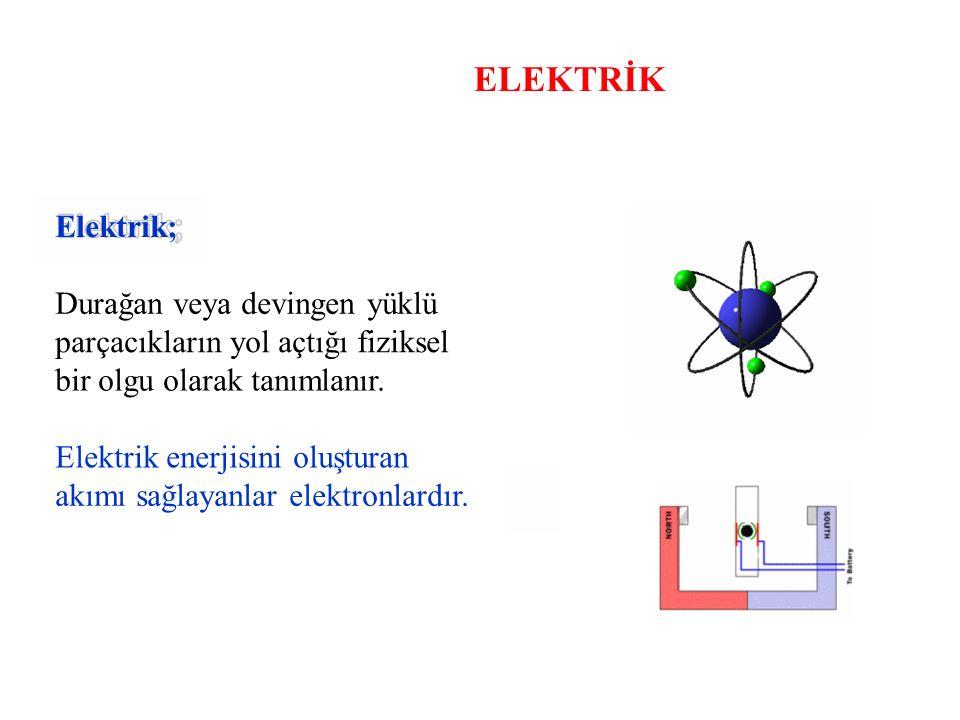 ELEKTRİK Elektrik; Durağan veya devingen yüklü parçacıkların yol açtığı fiziksel bir olgu olarak tanımlanır. Elektrik enerjisini oluşturan akımı sağla