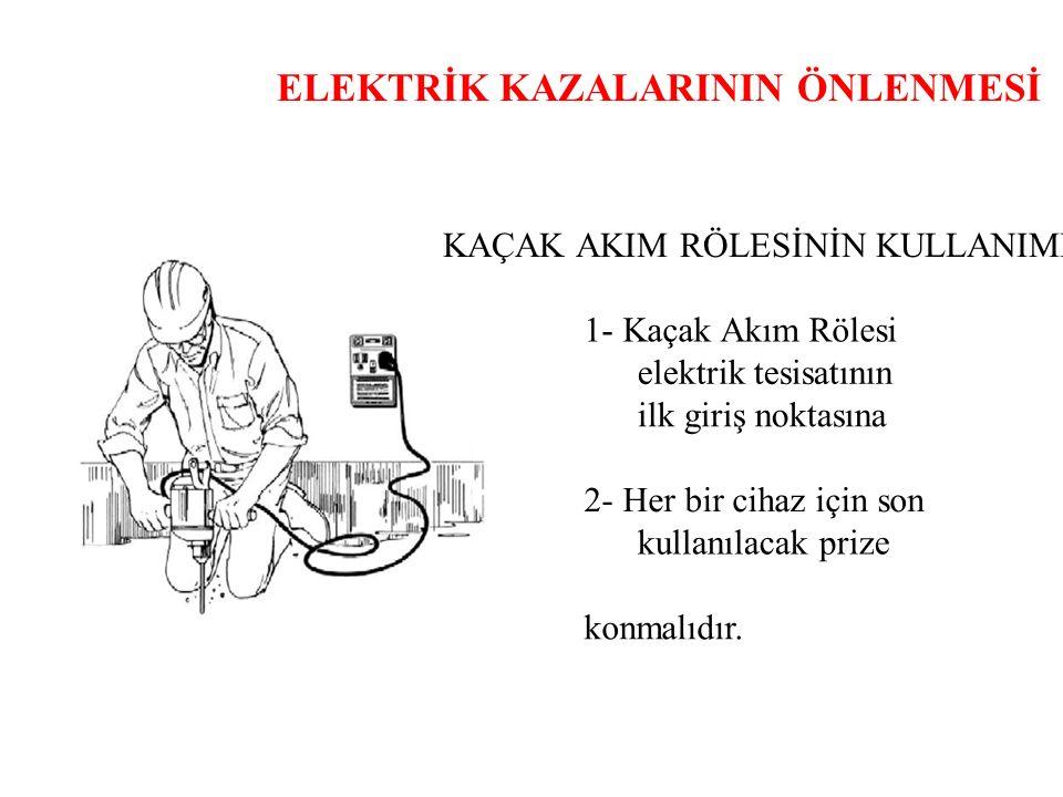 ELEKTRİK KAZALARININ ÖNLENMESİ KAÇAK AKIM RÖLESİNİN KULLANIMI 1- Kaçak Akım Rölesi elektrik tesisatının ilk giriş noktasına 2- Her bir cihaz için son kullanılacak prize konmalıdır.