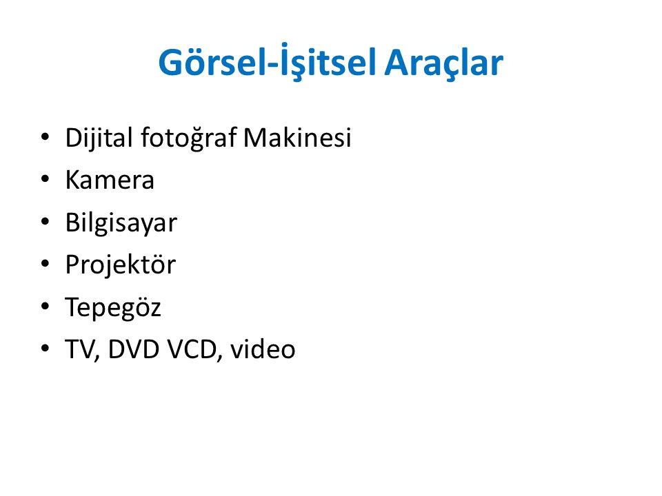 Görsel-İşitsel Araçlar Dijital fotoğraf Makinesi Kamera Bilgisayar Projektör Tepegöz TV, DVD VCD, video