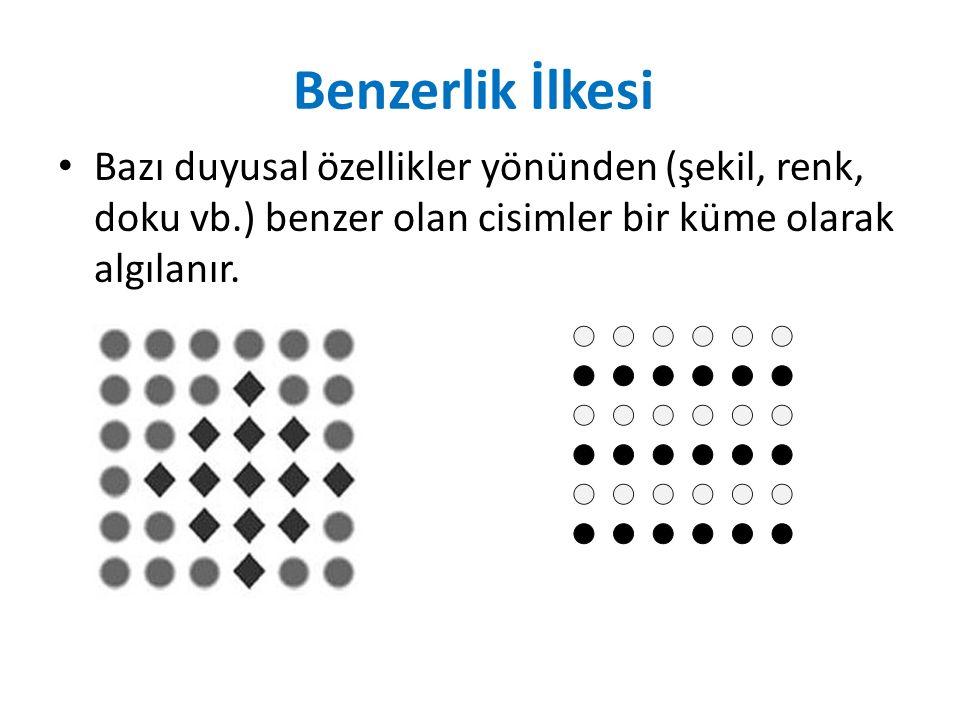 Benzerlik İlkesi Bazı duyusal özellikler yönünden (şekil, renk, doku vb.) benzer olan cisimler bir küme olarak algılanır.