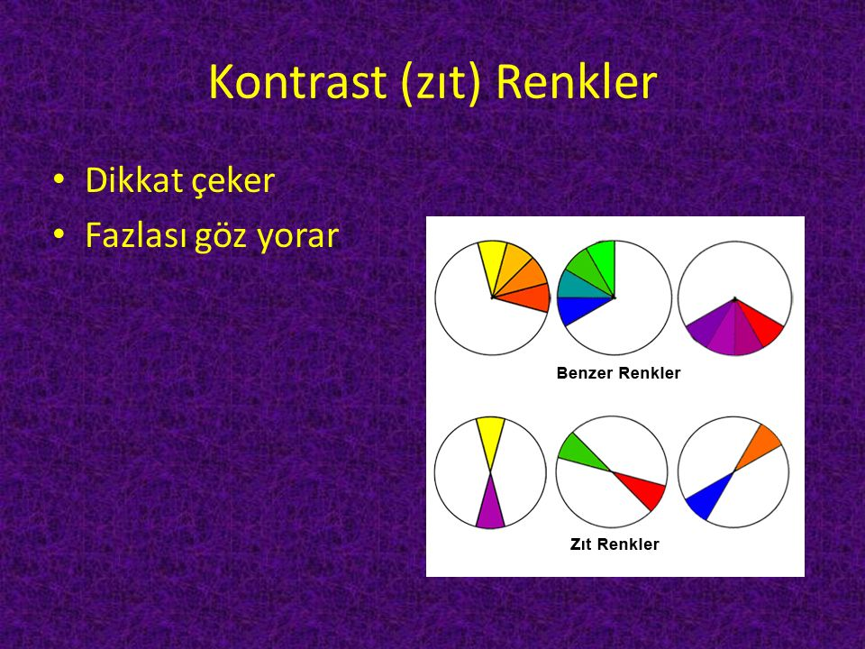 Kontrast (zıt) Renkler Dikkat çeker Fazlası göz yorar