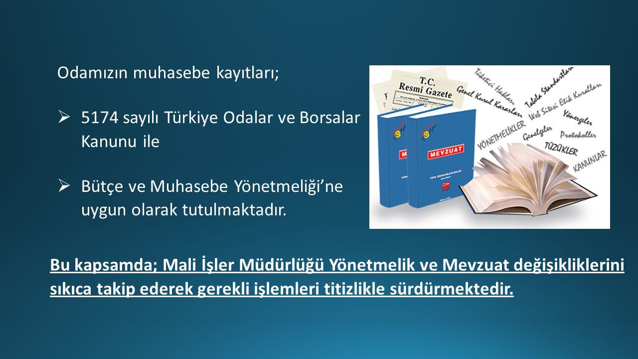Odamızın muhasebe kayıtları;  5174 sayılı Türkiye Odalar ve Borsalar Kanunu ile  Bütçe ve Muhasebe Yönetmeliği'ne uygun olarak tutulmaktadır.