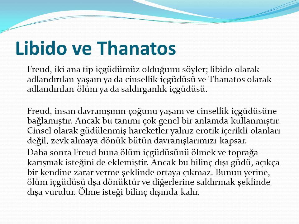 Libido ve Thanatos Freud, iki ana tip içgüdümüz olduğunu söyler; libido olarak adlandırılan yaşam ya da cinsellik içgüdüsü ve Thanatos olarak adlandırılan ölüm ya da saldırganlık içgüdüsü.