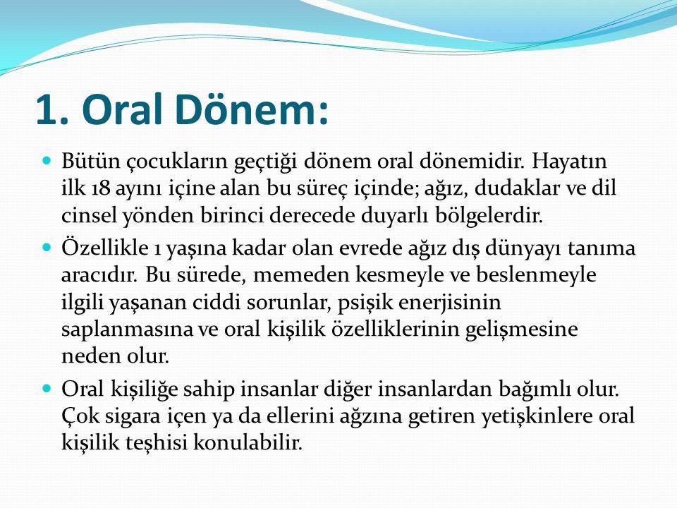 1.Oral Dönem: Bütün çocukların geçtiği dönem oral dönemidir.