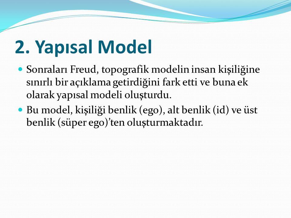 2. Yapısal Model Sonraları Freud, topografik modelin insan kişiliğine sınırlı bir açıklama getirdiğini fark etti ve buna ek olarak yapısal modeli oluş