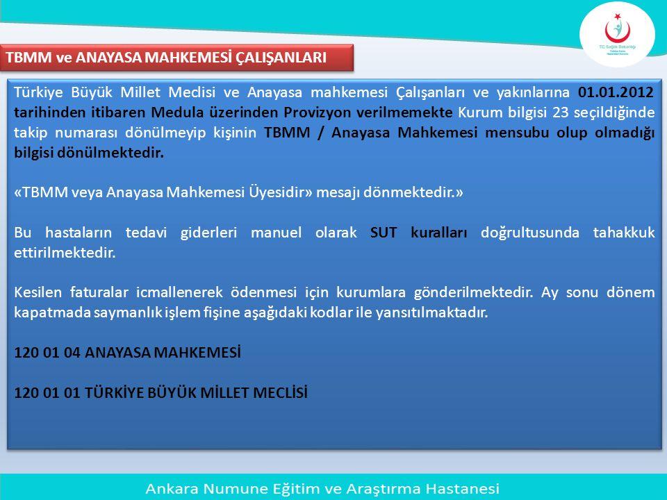 Türkiye Büyük Millet Meclisi ve Anayasa mahkemesi Çalışanları ve yakınlarına 01.01.2012 tarihinden itibaren Medula üzerinden Provizyon verilmemekte Ku