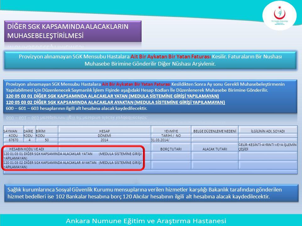 Sağlık kurumlarınca Sosyal Güvenlik Kurumu mensuplarına verilen hizmetler karşılığı Bakanlık tarafından gönderilen hizmet bedelleri ise 102 Bankalar h