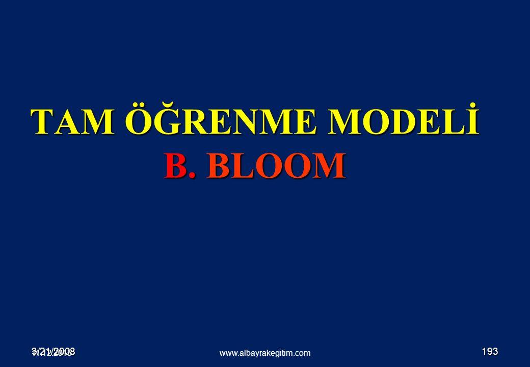 3/21/2008193 TAM ÖĞRENME MODELİ B. BLOOM www.albayrakegitim.com 11.12.2015