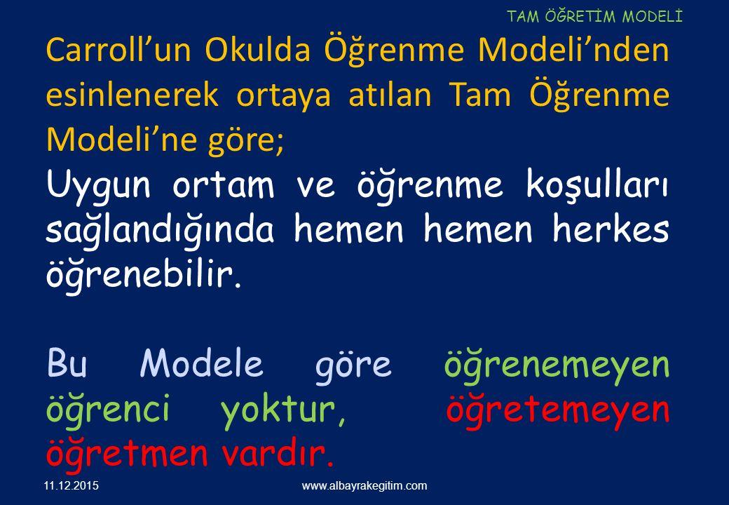 www.albayrakegitim.com Carroll'un Okulda Öğrenme Modeli'nden esinlenerek ortaya atılan Tam Öğrenme Modeli'ne göre; Uygun ortam ve öğrenme koşulları sa