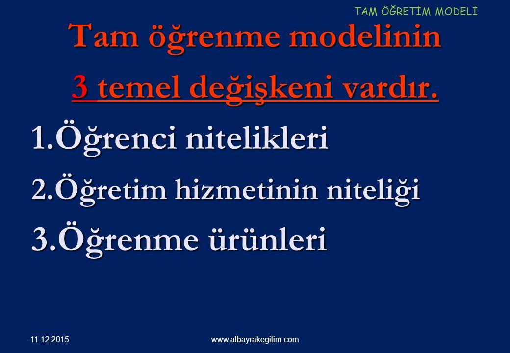 Tam öğrenme modelinin 3 temel değişkeni vardır. 1.Öğrenci nitelikleri 1.Öğrenci nitelikleri 2.Öğretim hizmetinin niteliği 2.Öğretim hizmetinin niteliğ