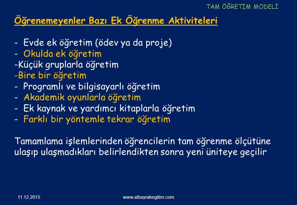 11.12.2015 www.albayrakegitim.com Öğrenemeyenler Bazı Ek Öğrenme Aktiviteleri - Evde ek öğretim (ödev ya da proje) - Okulda ek öğretim -Küçük gruplarl