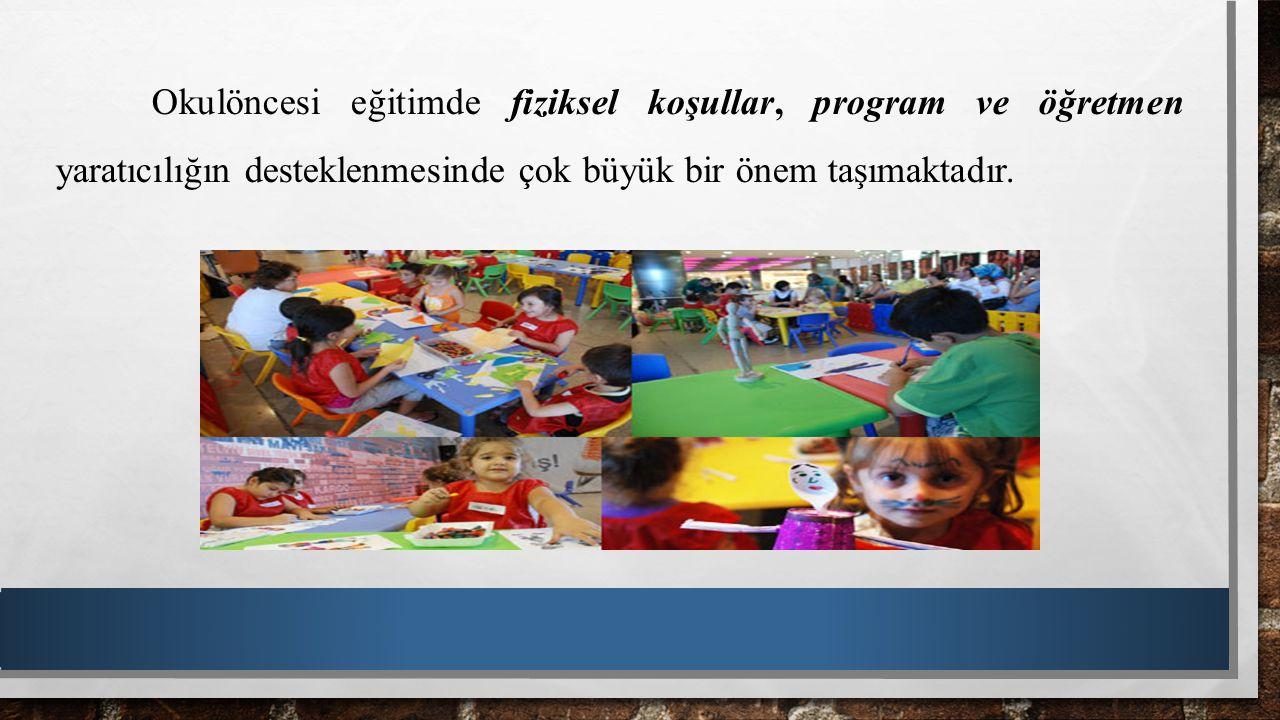 Çocukların Yaşadıkları Sınıflar: Sıcak ve yumuşak renkler ve malzemelerle düzenlenmeli, Kullanılan malzemeler çocukların ilgisini ve hayal gücünü canlı tutmalı, Çocukların bir günlük etkinlik sırasında tüm köşeler ve sanat etkinliklerinden yararlanmalarını sağlayacak bir düzenleme yapılmalı, Köşeler renk, şekil, çizgi ve doku olarak estetik özellikler taşımalı,