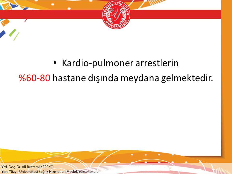 Kardio-pulmoner arrestlerin %60-80 hastane dışında meydana gelmektedir.