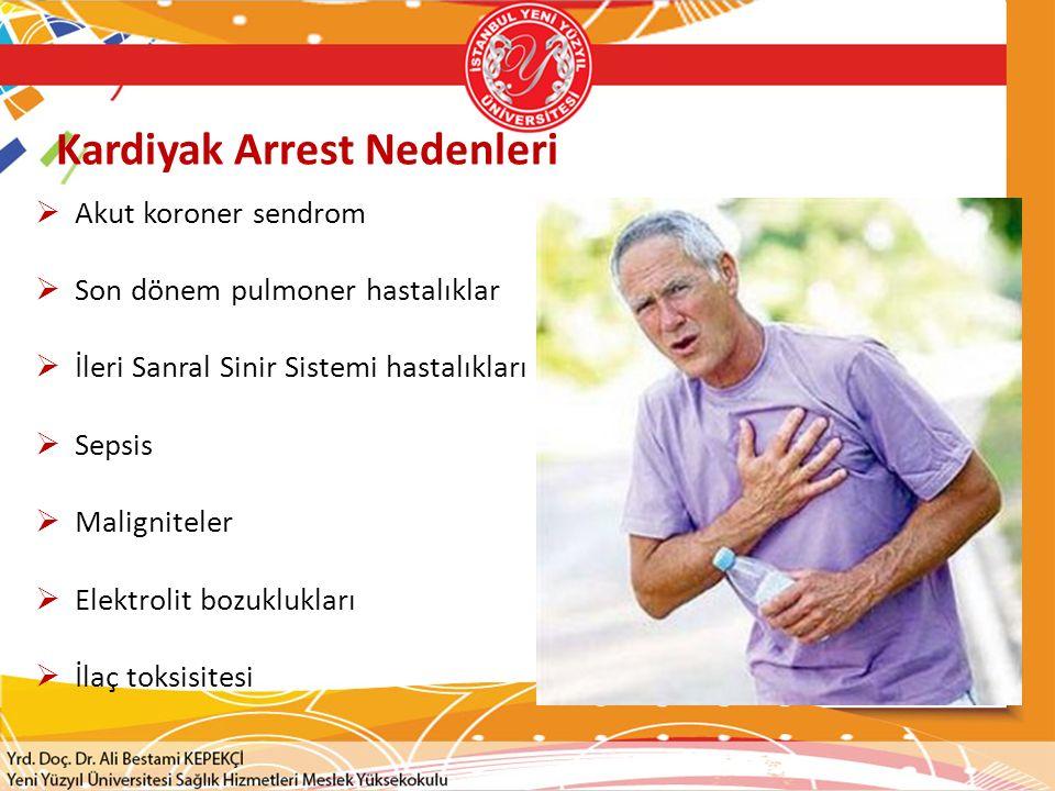 Kardiyak Arrest Nedenleri  Akut koroner sendrom  Son dönem pulmoner hastalıklar  İleri Sanral Sinir Sistemi hastalıkları  Sepsis  Maligniteler 