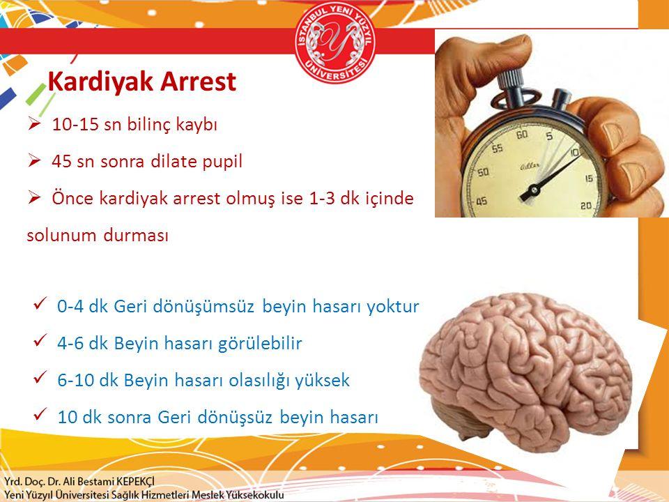 Kardiyak Arrest  10-15 sn bilinç kaybı  45 sn sonra dilate pupil  Önce kardiyak arrest olmuş ise 1-3 dk içinde solunum durması 0-4 dk Geri dönüşüms