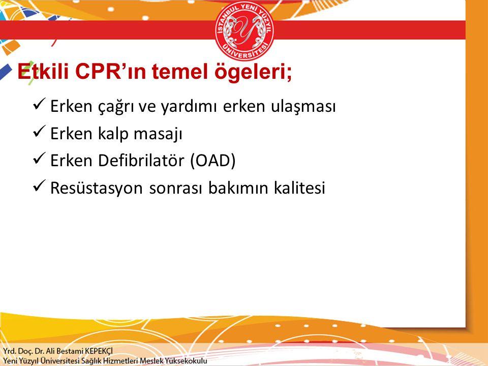 Etkili CPR'ın temel ögeleri; Erken çağrı ve yardımı erken ulaşması Erken kalp masajı Erken Defibrilatör (OAD) Resüstasyon sonrası bakımın kalitesi