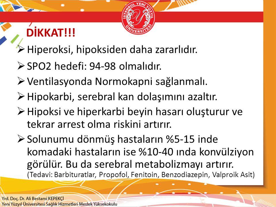 DİKKAT!!!  Hiperoksi, hipoksiden daha zararlıdır.  SPO2 hedefi: 94-98 olmalıdır.  Ventilasyonda Normokapni sağlanmalı.  Hipokarbi, serebral kan do