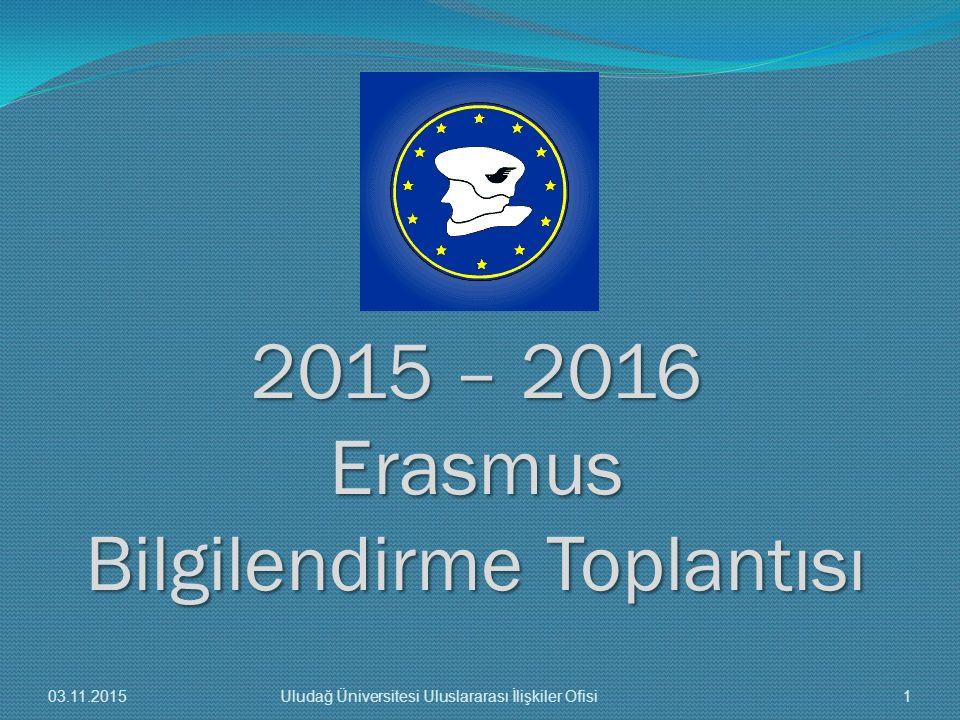 2015 – 2016 Erasmus Bilgilendirme Toplantısı 03.11.20151Uludağ Üniversitesi Uluslararası İlişkiler Ofisi