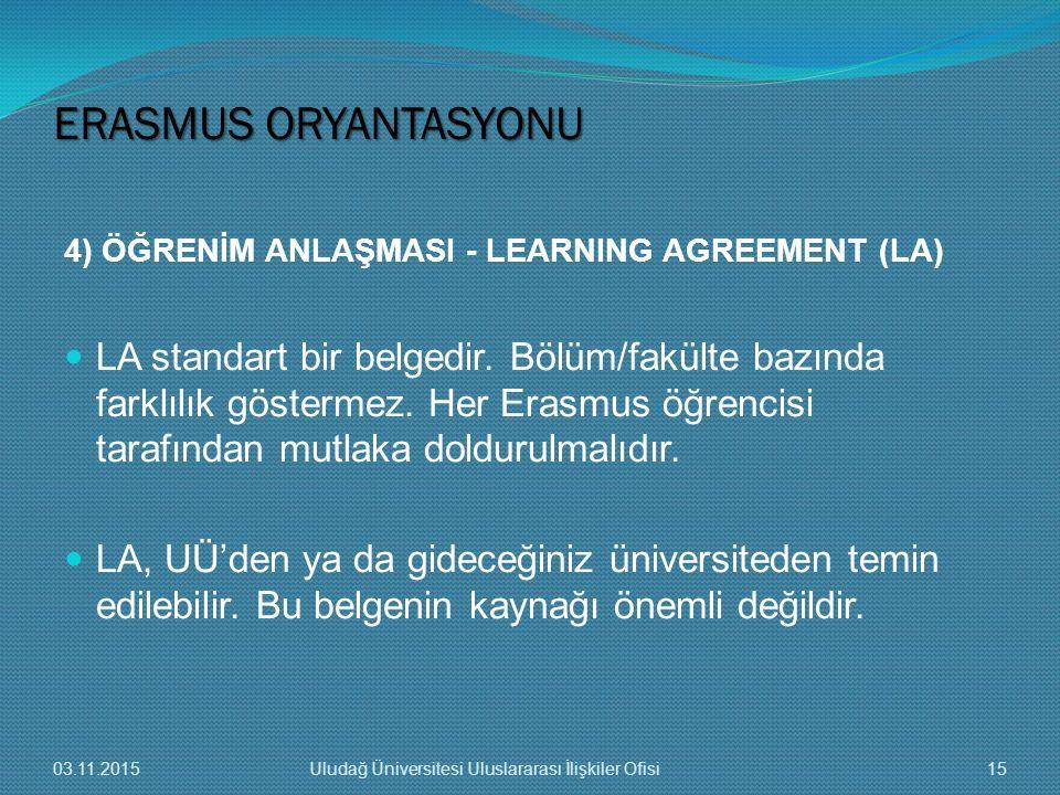 4) ÖĞRENİM ANLAŞMASI - LEARNING AGREEMENT (LA) LA standart bir belgedir. Bölüm/fakülte bazında farklılık göstermez. Her Erasmus öğrencisi tarafından m