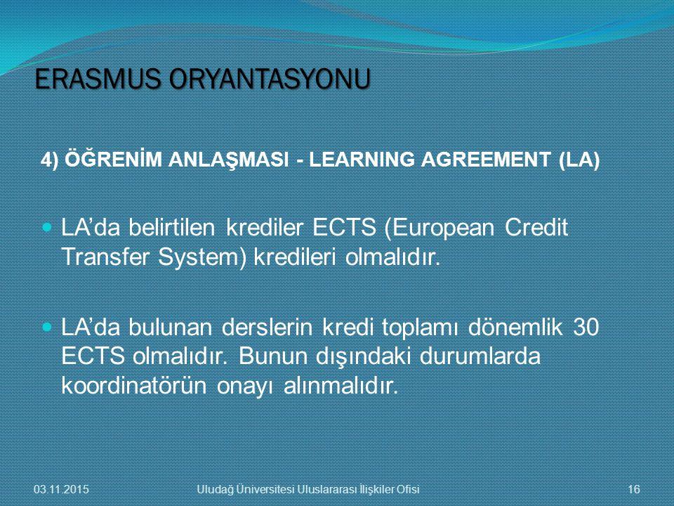 4) ÖĞRENİM ANLAŞMASI - LEARNING AGREEMENT (LA) LA'da belirtilen krediler ECTS (European Credit Transfer System) kredileri olmalıdır. LA'da bulunan der
